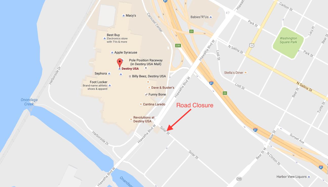 Destiny Usa Map Of Stores.Part Of Solar Street Near Destiny Usa Will Temporarily Shut Down