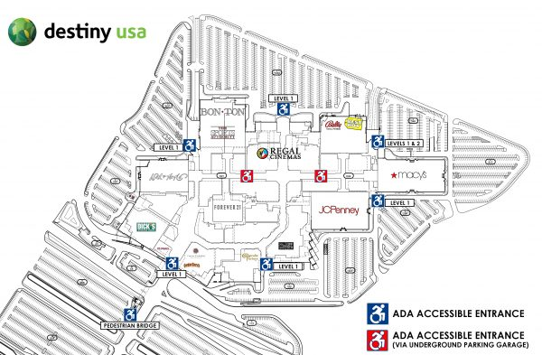 Help Guest Services Accessibility Information at Destiny USA – Destiny Usa Mall Floor Plan