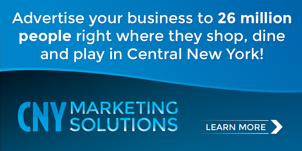 Advertise your business to 26 million people right where they shop, dine and play in Central New York! CNY Marketing Solutions - Learn More!
