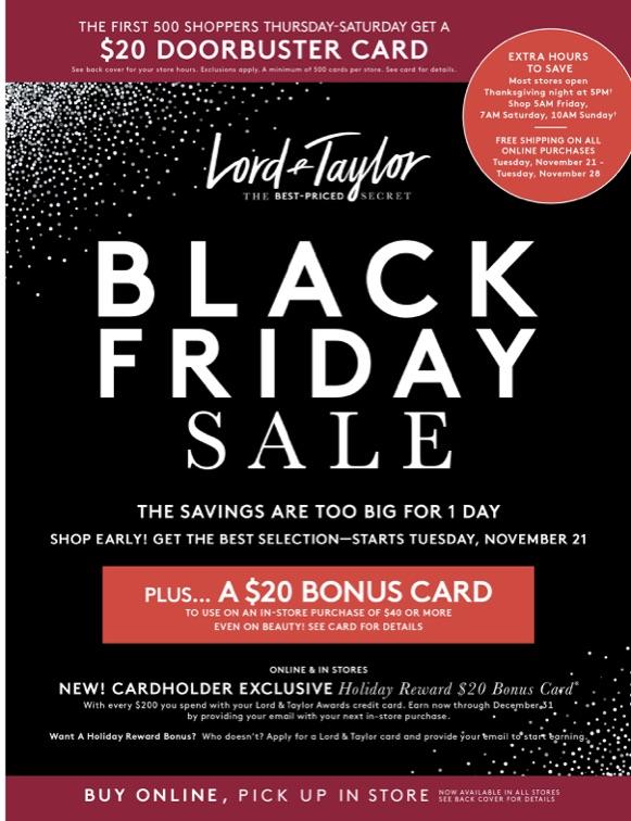 e0f7821d441ff Black Friday Sales at Lord & Taylor. Destiny USA | 11/23/2017 - 11/26/2017
