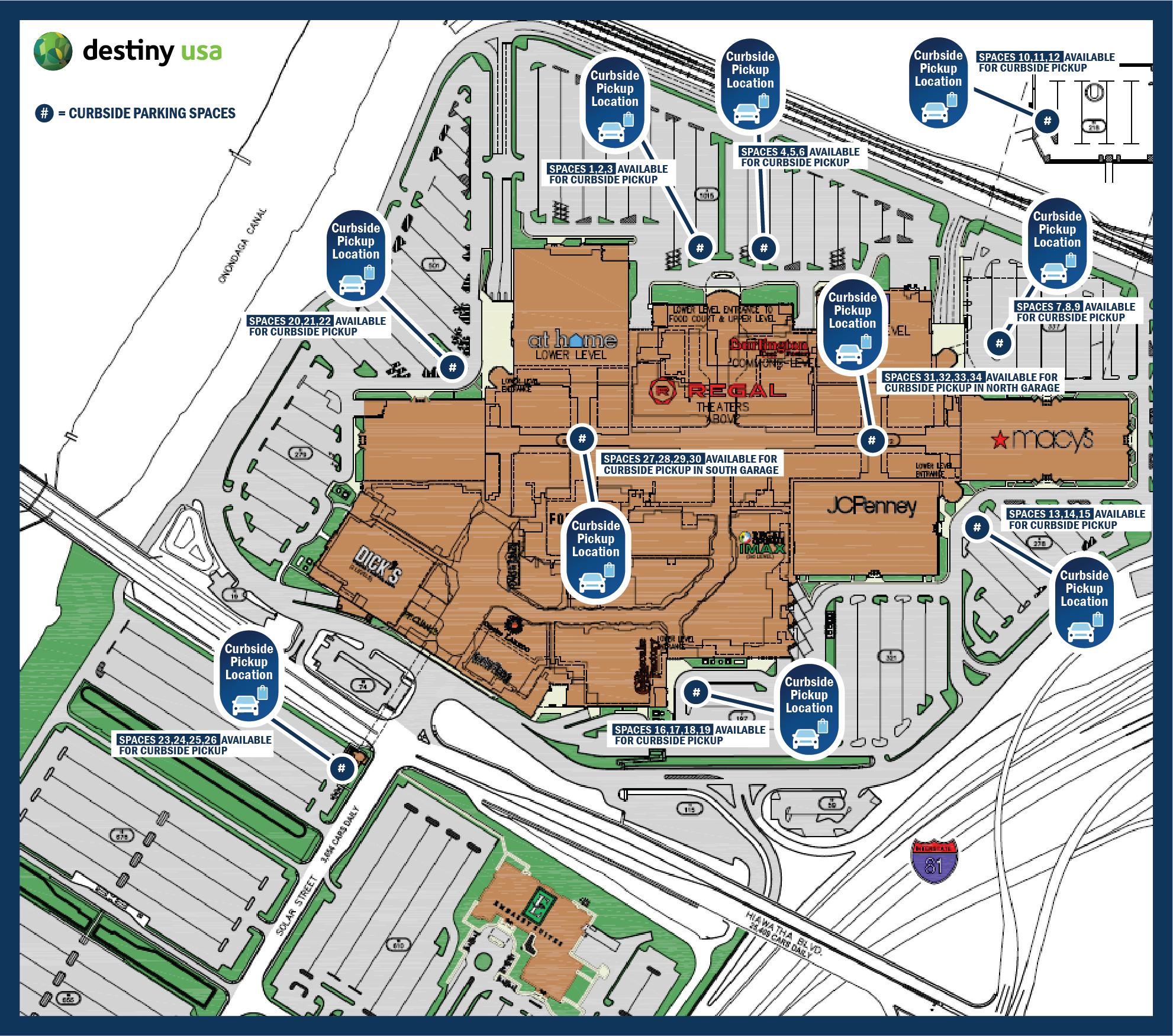 Destiny USA Curbside Pickup Map